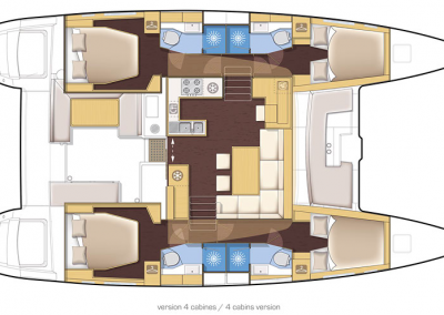 plano interior de catamaran