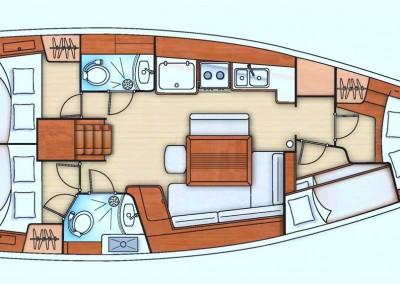 alquiler veleros ibiza oceanis 43 LAYOUT