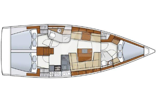 layout hanse 415 alquiler veleros ibiza